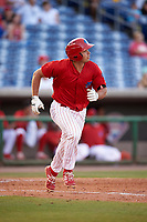 Clearwater Threshers first baseman Damek Tomscha (21) runs to first base during a game against the Palm Beach Cardinals on April 14, 2017 at Spectrum Field in Clearwater, Florida.  Clearwater defeated Palm Beach 6-2.  (Mike Janes/Four Seam Images)
