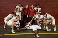LOS ANGELES, CA - SEPTEMBER 11: The Stanford Cardinal Inside Linebackers: Jake Lynch #56, Jason Kaul #22, Ricky Miezan #45, Jonathan McDonald, Eric Sanders, Levani Damuni #3, Jacob Mangum-Farrar #14, Tristan Sinclair #8 and Spencer Jorgensen #29 after a game between University of Southern California and Stanford Football at Los Angeles Memorial Coliseum on September 11, 2021 in Los Angeles, California.