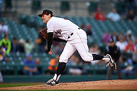 Rochester Red Wings pitcher Jason Wheeler (48) delivers a pitch during a game against the Lehigh Valley IronPigs on May 15, 2015 at Frontier Field in Rochester, New York.  Rochester defeated Lehigh Valley 5-4.  (Mike Janes/Four Seam Images)