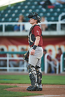 Idaho Falls Chukars catcher Michael Emodi (19) during a Pioneer League game against the Orem Owlz at The Home of the OWLZ on August 13, 2019 in Orem, Utah. Orem defeated Idaho Falls 3-1. (Zachary Lucy/Four Seam Images)