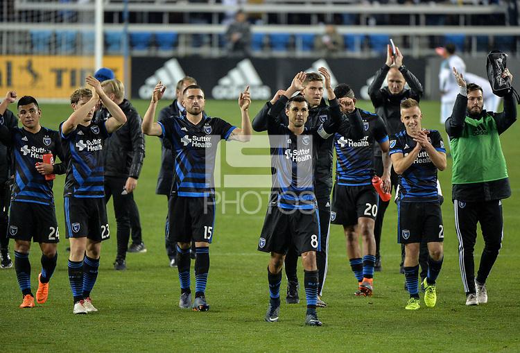 San Jose, CA - Saturday March 03, 2018: Chris Wondolowski, San Jose Earthquakes celebrate a win  during a 2018 Major League Soccer (MLS) match between the San Jose Earthquakes and Minnesota United FC at Avaya Stadium.