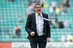 Hibs v St Johnstone….24.08.19      Easter Road     SPFL <br />Tommy Wright celebrates with the fans at full time<br />Picture by Graeme Hart. <br />Copyright Perthshire Picture Agency<br />Tel: 01738 623350  Mobile: 07990 594431