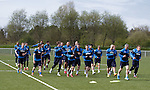 Rangers training on the astro ahead of the playoff match in Dumfries tomorrow