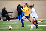 BROOKINGS, SD - MARCH 14: Katherine Jones #17 from South Dakota State pushes the ball past Alex Nillen #3 from Denver during their match at Dana J. Dykhouse Stadium on March 14, 2021 in Brookings, South Dakota. (Photo by Dave Eggen/Inertia)