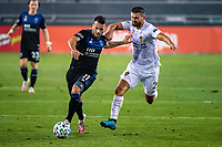 SAN JOSE, CA - SEPTEMBER 13: Vako Qazaishvili #11 of the San Jose Earthquakes and Perry Kitchen #2 of the Los Angeles Galaxy during a game between Los Angeles Galaxy and San Jose Earthquakes at Earthquakes Stadium on September 13, 2020 in San Jose, California.