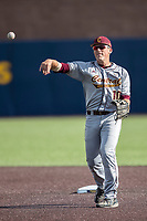 Central Michigan Chippewas second baseman Jason Sullivan (10) makes a throw to first base against the Michigan Wolverines on May 9, 2017 at Ray Fisher Stadium in Ann Arbor, Michigan. Michigan defeated Central Michigan 4-2. (Andrew Woolley/Four Seam Images)