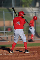 AZL Angels Edwin Bisay (5) at bat during an Arizona League game against the AZL Giants Black at the Giants Baseball Complex on June 21, 2019 in Scottsdale, Arizona. AZL Angels defeated AZL Giants Black 6-3. (Zachary Lucy/Four Seam Images)