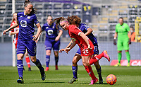 Tine De Caigny (6) of Anderlecht pictured watching a duel between Davinia Vanmechelen (25) of Standard  and Kassandra Missipo (12) of Anderlecht during a female soccer game between RSC Anderlecht Dames and Standard Femina De Liege on the third matchday of play off 1 of the 2020 - 2021 season of Belgian Womens Super League , saturday 24 th of April 2021  in Brussels , Belgium . PHOTO SPORTPIX.BE | SPP | DAVID CATRY