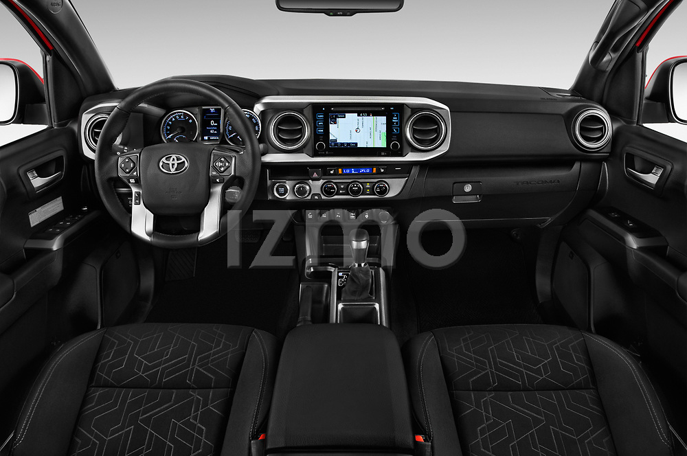 Stock photo of straight dashboard view of 2016 Toyota Tacoma TRD Off Road Double 4 Door Pick Up