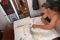 """- campaign """"Green Schooner"""" for pollution monitoring in Italian seas waters, organized by enviromentalist association """"Legambiente""""; on board of schooner """"Catholica"""" (year of construction 1936) ....- campagna """"Goletta Verde"""" per monitorare l'inquinamento delle acque nei mari organizzata dall' associazione ambientalista italiana """"Legambiente""""; a bordo della goletta """"Catholica"""" (anno di costruzione 1936)"""