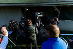 April 26, 2021: the media surrounds trainer Doug O'Neill at Churchill Downs in Louisville, Kentucky on April 26, 2021. EversEclipse Sportswire/CSM