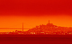 California wildfires blanketed the Bay Area with high attitude orange red smoke that darken the sky throughout the day.