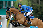 Brazil's jockey Alvaro Miranda with the horse AD Rahmannshof's Bogeno during 102 International Show Jumping Horse Riding, Gran Prix of Madrid-Volvo Throphy.May, 19, 2012. (ALTERPHOTOS/Acero)