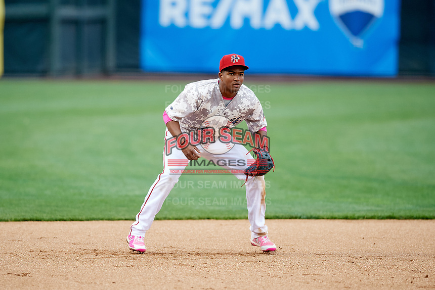 Harrisburg Senators third baseman Kelvin Gutierrez (5) during the second game of a doubleheader against the New Hampshire Fisher Cats on May 13, 2018 at FNB Field in Harrisburg, Pennsylvania.  Harrisburg defeated New Hampshire 2-1.  (Mike Janes/Four Seam Images)