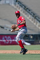 Cincinnati Reds third baseman Leandro Santana (76) on defense during an Instructional League game against the Kansas City Royals on October 2, 2017 at Surprise Stadium in Surprise, Arizona. (Zachary Lucy/Four Seam Images)