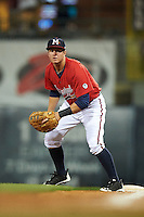 Mississippi Braves first baseman Kevin Ahrens (17) holds a runner on during a game against the Pensacola Blue Wahoos on May 28, 2015 at Trustmark Park in Pearl, Mississippi.  Mississippi defeated Pensacola 4-2.  (Mike Janes/Four Seam Images)