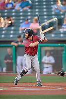 Steven Duggar (15) of the Sacramento River Cats at bat against the Salt Lake Bees at Smith's Ballpark on July 18, 2019 in Salt Lake City, Utah. The Bees defeated the River Cats 9-6. (Stephen Smith/Four Seam Images)