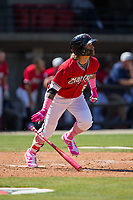 Isan Diaz (6) of the Carolina Mudcats starts down the first base line as he watches the flight of his 2-run home run against the Winston-Salem Dash at Five County Stadium on May 14, 2017 in Zebulon, North Carolina.  The Mudcats walked-off the Dash 11-10.  (Brian Westerholt/Four Seam Images)