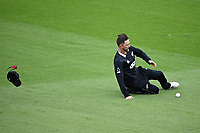 20th March 2021; Dunedin, New Zealand;  Devon Conway loses his hat while fielding during the New Zealand Black Caps v Bangladesh International one day cricket match. University Oval, Dunedin.