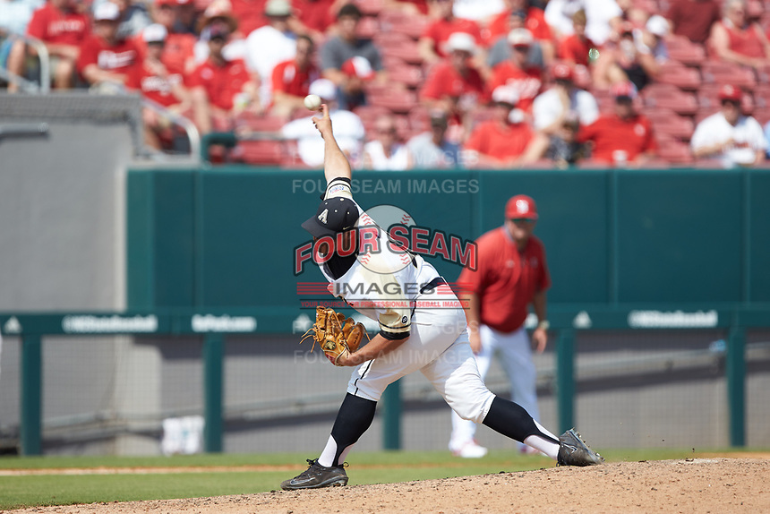 Army Black Knights relief pitcher Logan Smith (44) delivers a pitch to the plate against the North Carolina State Wolfpack at Doak Field at Dail Park on June 3, 2018 in Raleigh, North Carolina. The Wolfpack defeated the Black Knights 11-1. (Brian Westerholt/Four Seam Images)