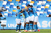 Hirving Lozano of SSC Napoli celebrates with team mates after scoring a goal<br /> during the Serie A football match between SSC Napoli and Atalanta BC at stadio San Paolo in Napoli (Italy), October 17th, 2020. <br /> Photo Cesare Purini / Insidefoto
