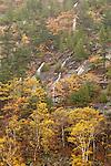 Ephemeral waterfalls cascade down the side of Dorr Mountain near the Tarn in autumn on Mount Desert Island in Acadia National Park, Maine, USA