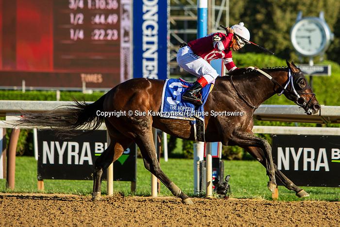 SEPT 06, 2021: Gunite,#3, ridden by Ricardo Santana Jr., wins the Gr.1 Hopeful  Stakes, for 2-year olds, going 7 furlongs, at Saratoga Racecourse, Saratoga Springs, New York. Sue Kawczynski/Eclipse Sportswire/CSM