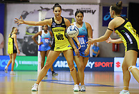 Karin Burger takes a pass during the ANZ Championship netball match between Northern Mystics and Central Pulse at the Auckland Netball Centre in Auckland, New Zealand on Saturday 18 July 2020. Photo: Simon Watts / bwmedia.co.nz