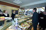 David Cameron, the Conservative Party leader decides what to have for lunch at the Myrddin Bakery in Carmarthen today as he toured the area and spoke to local businesses during his visit to South Wales today..The Conservatives want to introduce a bill demanding compulsory country of origin labelling, which will require products carrying the UK flag to be born, reared and processed in Britain...