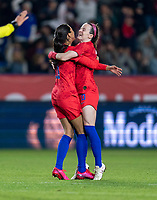 CARSON, CA - FEBRUARY 7: Christen Press #20 and Rose Lavelle #16 of the United States celebrate during a game between Mexico and USWNT at Dignity Health Sports Park on February 7, 2020 in Carson, California.