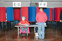People vote in Merrimack Ward 1 Primary Voting at James Mastricola Upper Elementary School in Merrimack, New Hampshire, on Tue., Feb. 11, 2020.