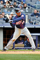 Apr 07, 2011; Bronx, NY, USA; Minnesota Twins infielder Danny Valencia (19) during game against the New York Yankees at Yankee Stadium. Yankees defeated the Twins 4-3. Mandatory Credit: Tomasso DeRosa/ Four Seam Images
