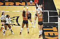 AUSTIN, TX - AUGUST 29, 2021: The University of Texas at San Antonio Roadrunners fall to the University of Texas Longhorns 3-0 at Gregory Gymnasium (Photo by Jeff Huehn).