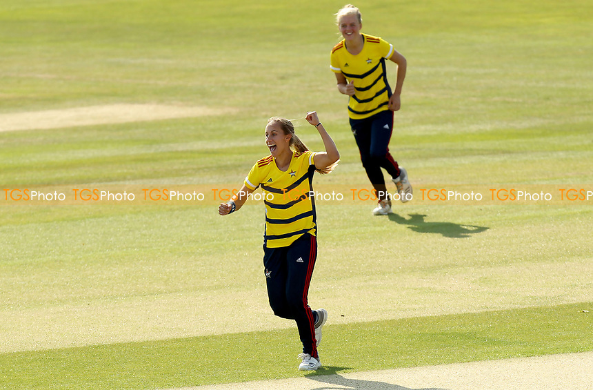 Tash Farrant of South East Stars celebrates taking the wicket of Alice MacLeod during Sunrisers vs South East Stars, Rachael Heyhoe Flint Trophy Cricket at The Cloudfm County Ground on 13th September 2020
