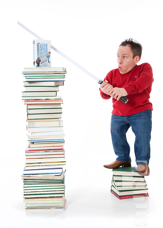 Warwick Davis Photo shoot for new book launch. Size Matters Not. Cambridgeshire. Britain.