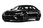 Stock pictures of low aggressive front three quarter view of 2021 BMW M5 Competition 4 Door Sedan Low Aggressive