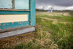 Meagher County, Montana; Abandoned store in Lennep with Trinity Lutheran Church (1891) in the distance