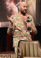 LAS VEGAS, NV - OCTOBER 6:  Tyson Fury at the  press conference at the MGM Grand Garden Arena on October 6, 2021 for their upcoming Fox Sports PBC pay-per-view fight in Las Vegas, Nevada. The Fury vs Wilder III pay-per-view fight will be on Saturday, October 9 at T-Mobile Arena in Las Vegas. (Photo by Scott Kirkland/Fox Sports/PictureGroup)