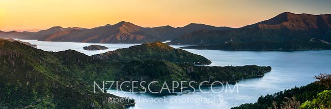 Sunset over Queen Charlotte Sound in Marlborough Sounds, Nelson Region, Marlborough, South Island, New Zealand