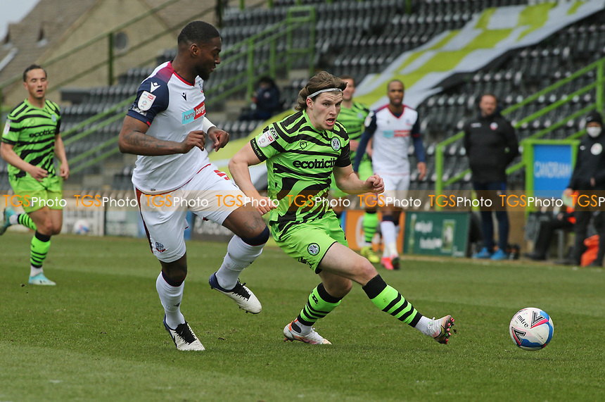 Forest Green Rovers's Josh Davison and Bolton Wanderers's Ricardo Santos during Forest Green Rovers vs Bolton Wanderers, Sky Bet EFL League 2 Football at The New Lawn on 27th March 2021