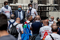 Fratelli d'Italia MP.<br /> <br /> Rome, Italy. 27th May, 2021. Today, Whirlpool workers, mainly from the South of Italy city of Naples, held a demonstration in Piazza Santi Apostoli in Rome to protest against the decision of the US multinational – manufacturer and marketer of home appliances – to close its Naples factory. Moreover, workers and their Trade Union representatives called the Italian Government, led by Prime Minister Mario Draghi, the Parliament, and all the political parties to protect jobs and workers and to make the company respecting the agreements previously made with other Italian Governments (Vertenza Whirlpool).