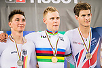 Adrian Teklinski of the Poland team celebrates winning the Men's Scratch Race Final with Lucas Liss of the Germany team and Christopher Latham of the Great Britain team as part of the 2017 UCI Track Cycling World Championships on 13 April 2017, in Hong Kong Velodrome, Hong Kong, China. Photo by Marcio Rodrigo Machado / Power Sport Images