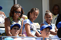 FLUSHING, NY - AUGUST 24: First Lady Michelle Obama along with her daughters Sasha and Malia attend Arthur Ash kids day at Auther Ashe Stadium for the 2013 US Open at  the USTA Billie Jean King National Tennis Center on August 24, 2013 in the Flushing neighborhood of the Queens borough of New York City. <br /> <br /> People:  Michelle Obama_Sasha Obama_Malia Obama<br /> <br /> Transmission Ref:  MNC5<br /> <br /> Must call if interested<br /> Michael Storms<br /> Storms Media Group Inc.<br /> 305-632-3400 - Cell<br /> 305-513-5783 - Fax<br /> MikeStorm@aol.com<br /> www.StormsMediaGroup.com