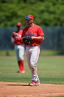 Philadelphia Phillies first baseman Schneider (4) during a Minor League Spring Training game against the Toronto Blue Jays on March 29, 2019 at the Carpenter Complex in Clearwater, Florida.  (Mike Janes/Four Seam Images)