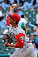 Williamsport Crosscutters pitcher Gabriel Arias (15) during game against the Brooklyn Cyclones at MCU Park on August 3, 2011 in Brooklyn, NY.  Brooklyn defeated Williamsport 3-2.  Tomasso DeRosa/Four Seam Images