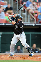 Syracuse Chiefs catcher Jhonatan Solano (8) at bat during a game against the Buffalo Bisons on July 23, 2014 at Coca-Cola Field in Buffalo, New  York.  Syracuse defeated Buffalo 5-0.  (Mike Janes/Four Seam Images)