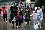 © Joel Goodman - 07973 332324 . 26/07/2015 . Manchester , UK . Cosplayers outside the venue . Comic Con convention at Manchester Central Convention Centre . Photo credit : Joel Goodman