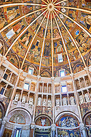Romanesque frescoes inside the dome of the Romanesque Baptistery of Parma, circa 1196, (Battistero di Parma), Italy