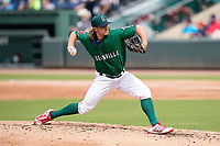 Pitcher Dylan Spacke (39) of the Greenville Drive during a game against the Bowling Green Hot Rods on Sunday, May 9, 2021, at Fluor Field at the West End in Greenville, South Carolina. (Tom Priddy/Four Seam Images)