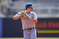 Dunedin Blue Jays shortstop Addison Barger (22) throws to first base during a game against the Tampa Tarpons on May 9, 2021 at George M. Steinbrenner Field in Tampa, Florida.  (Mike Janes/Four Seam Images)